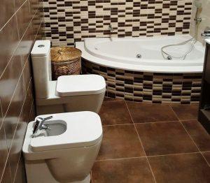 Baño beige marrón.