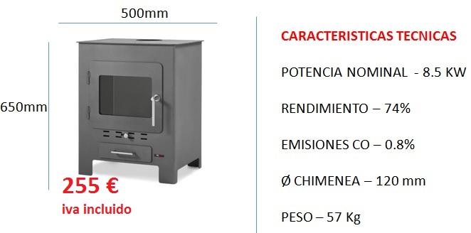 Estufa de leña 255 € Iva incluido.